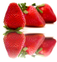 strawberries with reflection